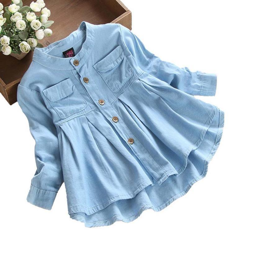 MUQGEW Toddler Kids Dresses For Girls Denim Ruched Long Sleeve T-Shirt Tops Blouse Spring Clothing Vestidos De Fiesta g#1 ruched sleeve dolphin hem floral blouse