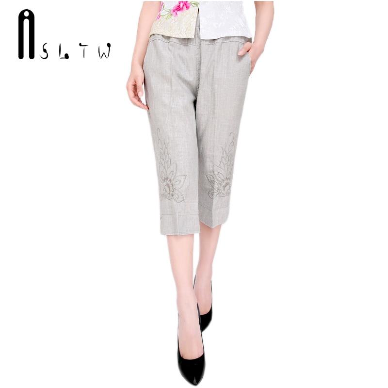 New Arrivals Women's Summer Linen Capris Pants Fashion Embroidered Capri Pants High-end Elegance Plus Size XL-5XL Pants T016