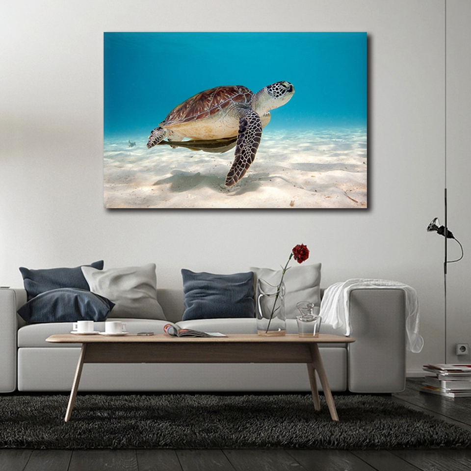 Us 8 9 40 Off Canvas Prints Poster Home Decor Frame 1 Piece Sea Turtle Painting Living Room Marine Animals World Underwater Pictures Wall Art In