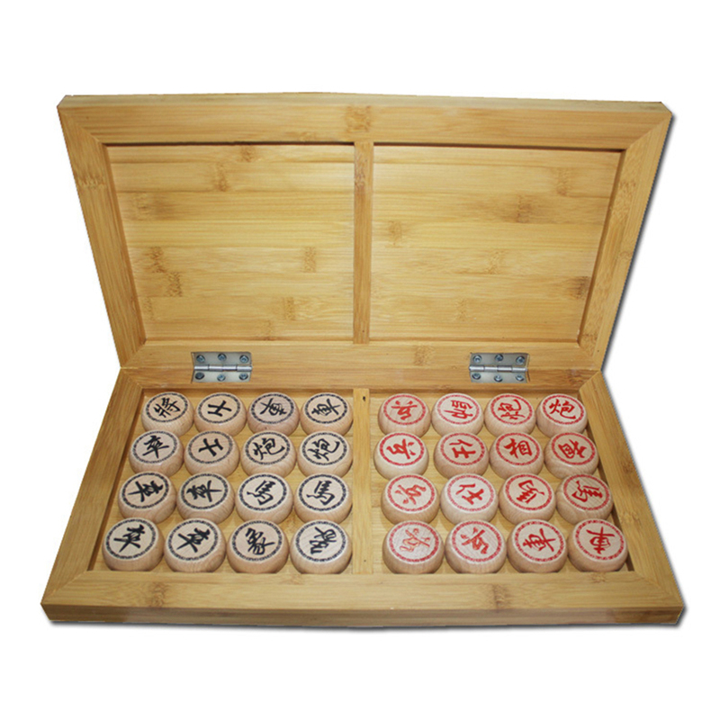BSTFAMLY Chinese Chess Wooden Box 32Pcs Set Old Game of Go Xiang Qi International Checkers Folding