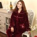 2017 mujeres otoño invierno de manga larga de franela pijamas chándal de talla grande gruesa pijama de terciopelo de coral de las mujeres ropa de dormir M-3XL
