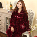 2017 pyjamas women autumn winter long-sleeved flannel tracksuit plus-size thick coral velvet pajamas women sleepwear M-3XL