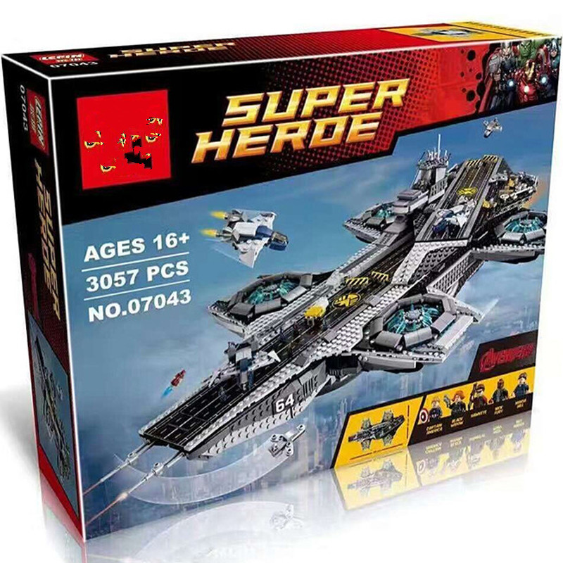 the diy assemble gift 07043 Super Heroes The Shield Helicarrier Model Building Kits Blocks Bricks Toys