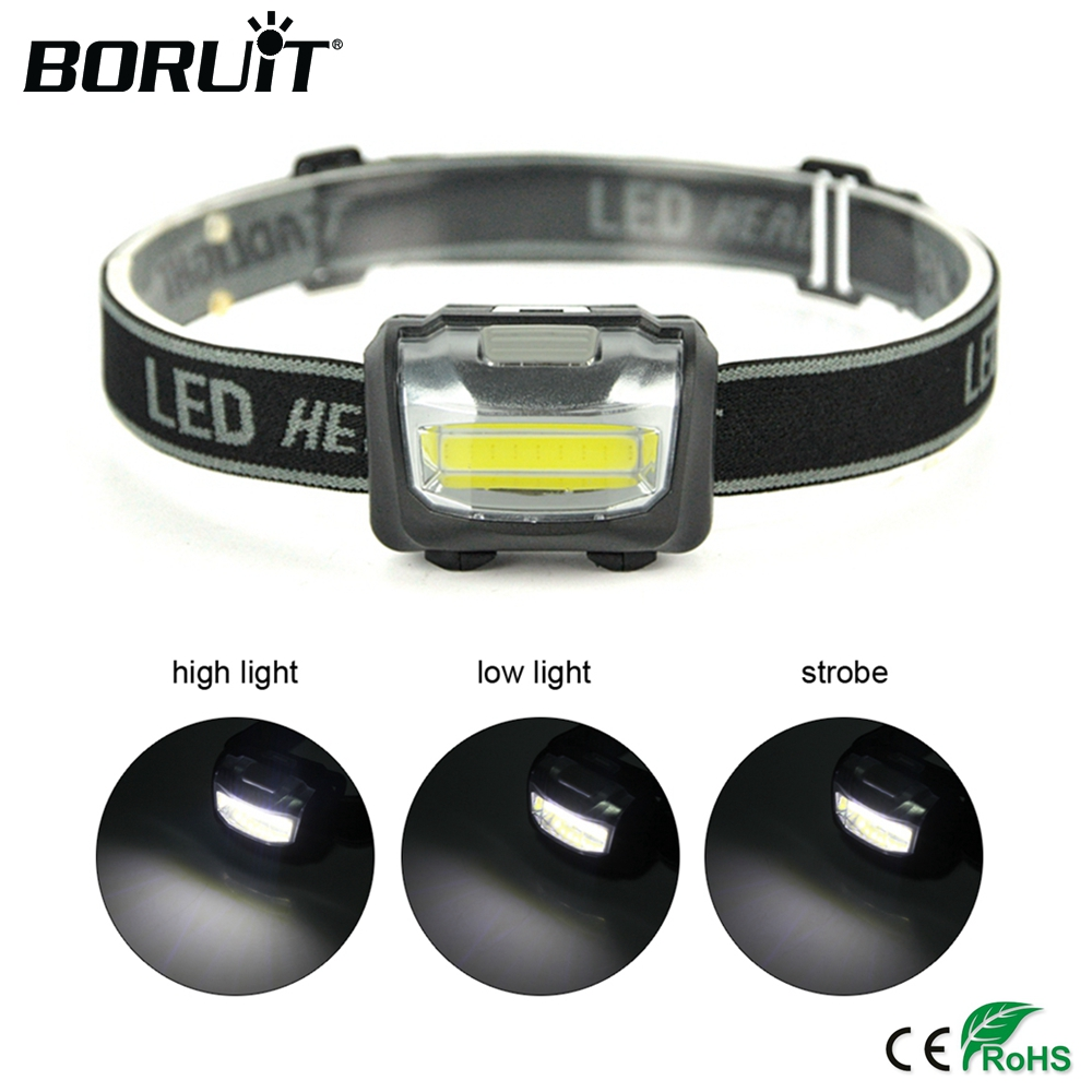 BORUiT COB LED Mini Headlamp Rainproof Headlight Outdoor Camping Head Torch Lantern Use AAA Battery Flashlight