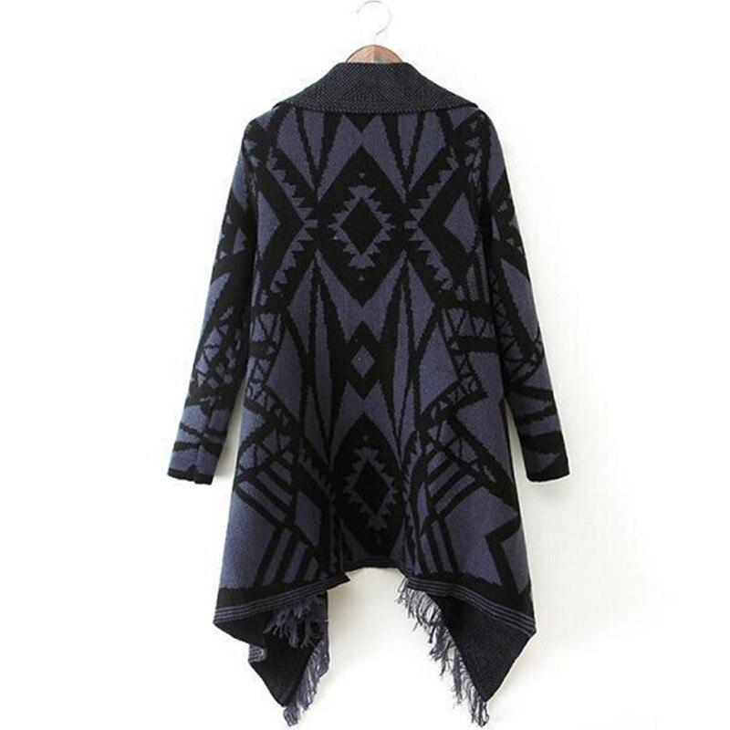 Зимняя женская цветная контрастная Асимметричная хиппи бохо Этническая вязаная кисточка кардиган свитер пальто накидка Топы