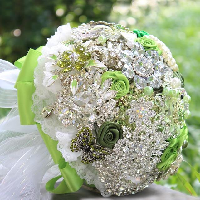 Green & White Satin Ribbon Rose Brooch Bouquet Brooch Bouquet Ribbon Rose Bouquet Kiwi Green Crystal Wedding Brooch Bouquet