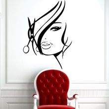 Vinyl Wall Decal Hair Beauty Salon Window Sticker Removable Barbershop Hot Girl Teen Woman Mural Poster AY446