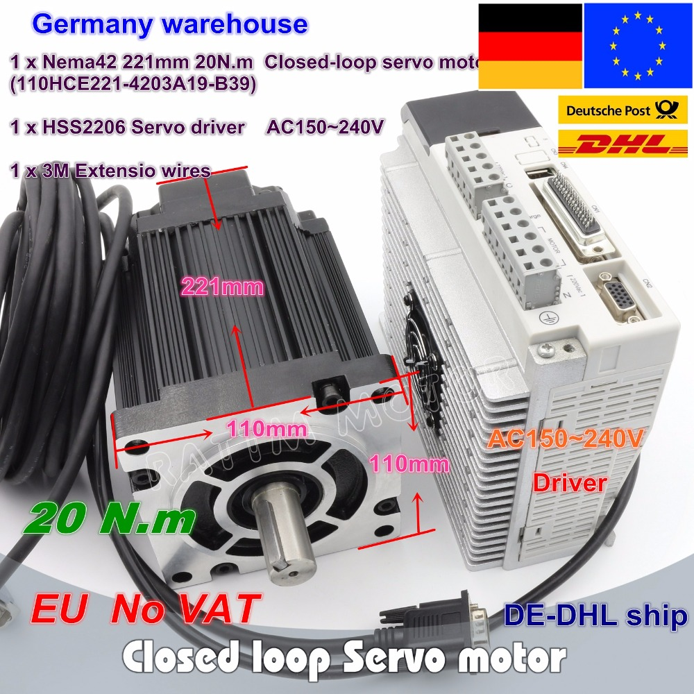 цена на Closed-loop Servo motor 20N.m/2880oz-in 3-Phase 110(Nema42) Hybrid stepper motor & 3-phase Step-servo Driver CNC Controller