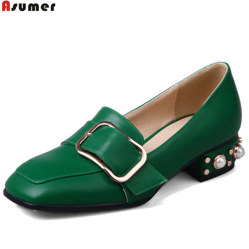 ASUMER black white green fashion spring autumn ladies single shoes square toe casual women low heels shoes plus size 33-46 вьетнамки globe merkin combo black green white