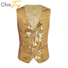 ChicTry Shiny Sequins Sleeveless Button Down Slim Suit Vest Ballroom Latin Shirt Men Waistcoat Rave Stage Jazz Dance Costume