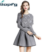 Brand Ladies Autumn And Winter Gray pullover Dress 2017 Knitted swerter Space Cotton Noble Dress Two