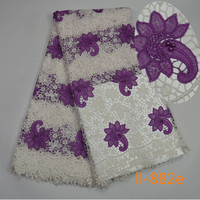 Factory Offer Nigerian Lace High Quality Latest African Guipure Cord Lace Beaded Fabric For Nigerian Evening