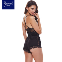 Women Lace V Neck Teddies Sleeveless Lingerie Bodysuits Casual Bodycon Tops Charming Lace Up Teddies Bodysuit