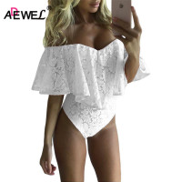 SEBOWEL Sexy Floral Lace Bodysuit Women Rompers Overalls Mesh Neck Mini Body Playsuit Bodycon Jumpsuit