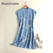 753e80e7bdf Летнее джинсовое платье женское с круглым вырезом с короткими рукавами  Цветочная вышивка синий тенсель джинсовое платье cheongsa.