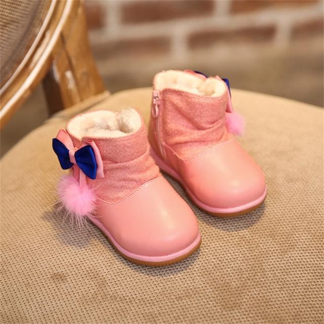 Cuero de la pu antideslizante térmica baby girls botas cálido de felpa bebé shoes shoes recién nacido bebés suaves shoes sneakers