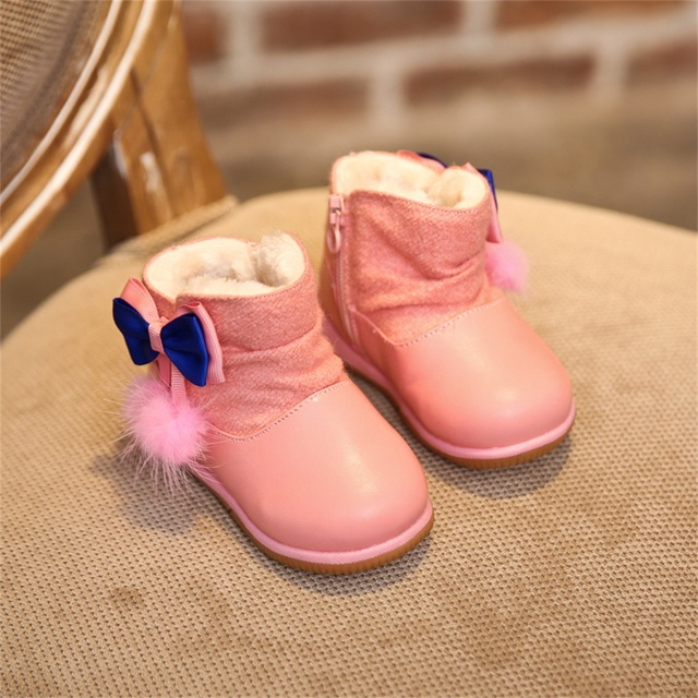 PU Leather Anti-slip Thermal Baby Girls Boots Warm Plush Inside Baby Shoes Newborn Shoes Soft Infants Shoes Sneakers
