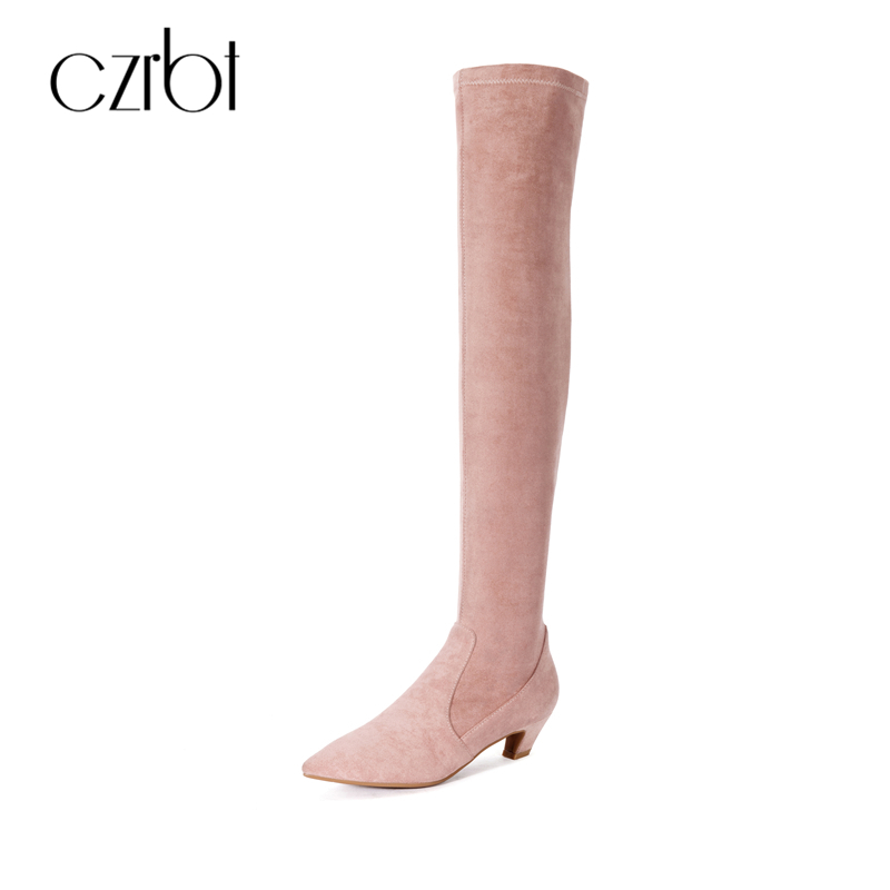 CZRBT Sexy Med Heel Knee High Boots Women Autumn Winter Solid Color Pointed Toe Over The Knee Boots High Quality Woman Boots 2016 integrated led tube light t5 900mm 3ft led lamp epistar smd 2835 11watt ac110 240v 72leds 1350lm 25pcs lot