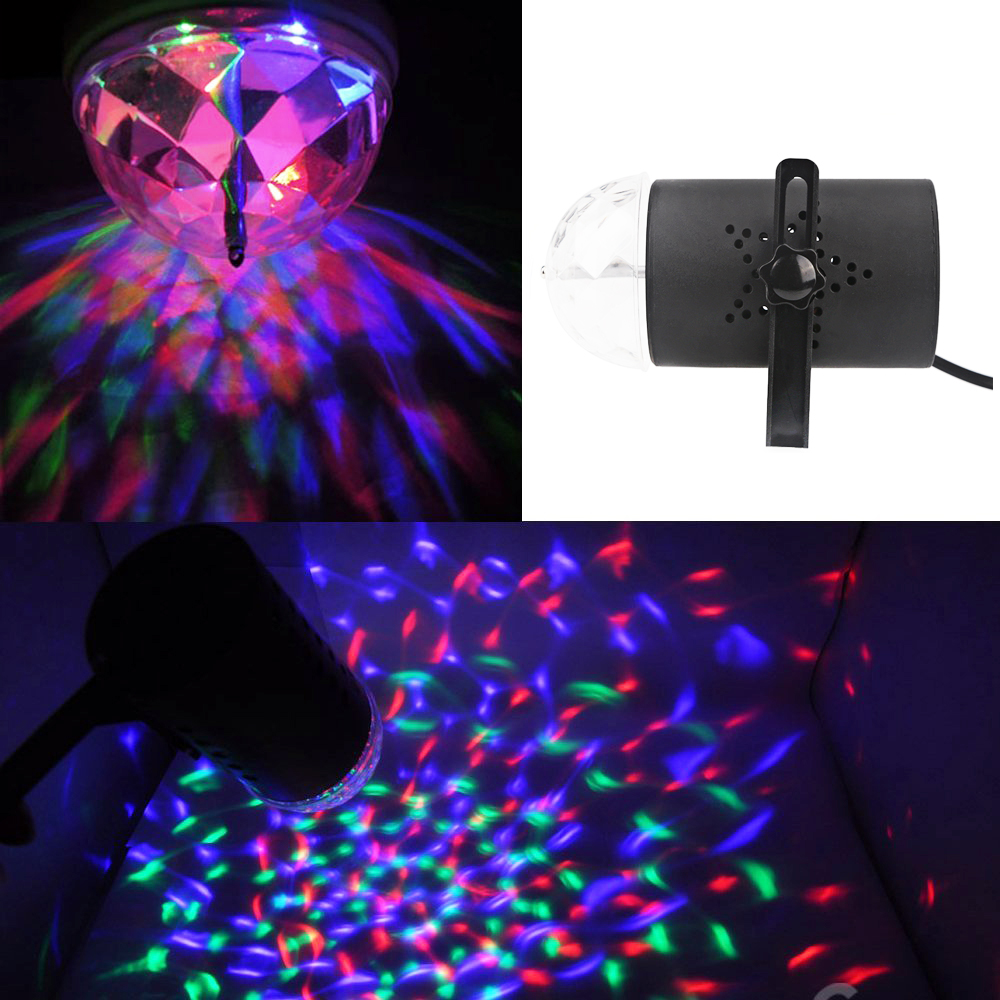 3W Voice-activated Rotating RGB Stage LED Crystal Colorful Light for festa DJ Disco KTV Xmas Party Wedding Show Club Pub Lamp 6w e27 led stage light rgb lamp with voice activated mp3 projector crystal magic ball rotating disco dj party stage lighting