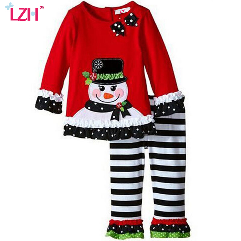 LZH Baby Girls Christmas Outfits 2017 Autumn Winter Girls Clothes Set Snowman T-shirt+Pants Kids Sport Suit Children's Clothing