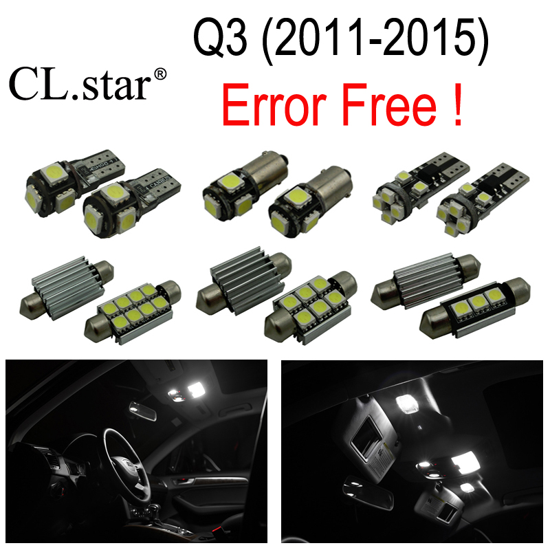17pcs canbus error free Reading LED bulb interior dome light kit package for Audi Q3 Quattro (2011-2015)