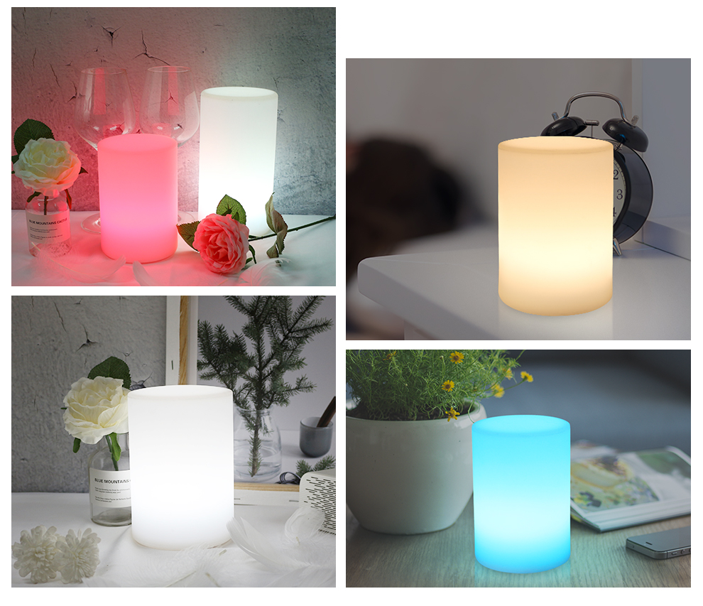 Cylinder Shape WiFi Smart Table Lamp Compatible with Alexa Voice Control Hand Touch LED Ambient Night Light Controlled by APP_F6