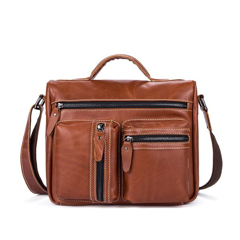 все цены на Brand Genuine Leather Men Bag Messenger Bag Men's Shoulder Bag Casual Tote Business Leather Briefcase Crossbody Bag Male Handbag