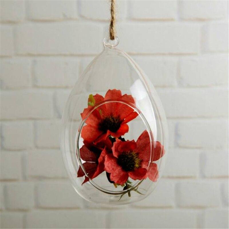 Hanging Glass Vase Ellipse Hanging Terrarium Glass Vase Hydroponic Ornament Office Vase Home Planter Decoration