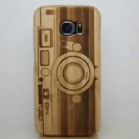 High Quality For Samsung Galaxy S6 Edge Case Laser Pattern Wood Phone CaseWooden Hard Shell Cover