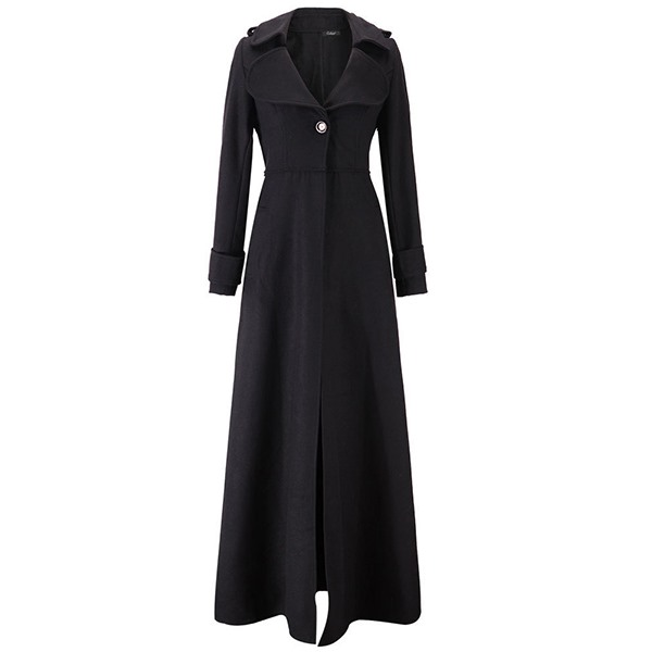Vintage Woolen Long   Trench   Coat Women Winter 2018 High Waist Slim Office Ladies Elegant Simple Windbreaker Black Swing Overcoats