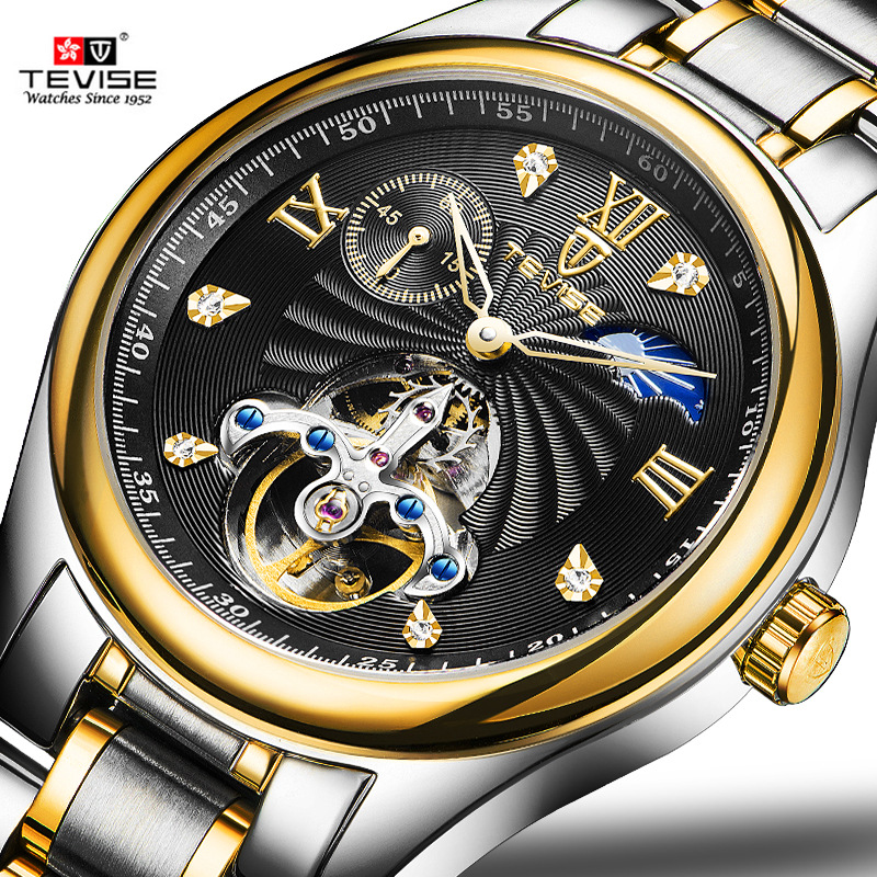 TEVISE Men Watches top brand Luxury Watch Tourbillon Automatic Self Wind Business Mechanical luminous Wristwatch diamond Relogio tevise men automatic self wind mechanical wristwatches business stainless steel moon phase tourbillon luxury watch clock t805d