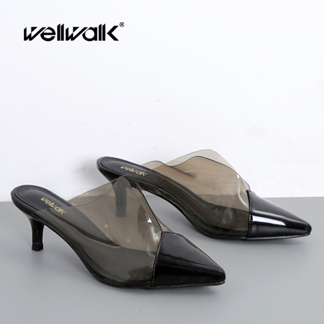 Wellwalk Clear Sexy Mules Shoes Women Heel Slippers Unicorn Ladies Transparent Sliders Pointed Toe Female Fashion Shoes OpenBack