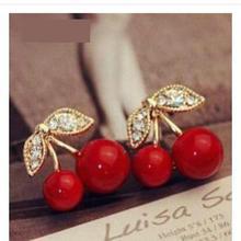 2015 New Fashion Cute Red Cherry Earrings Cz Earrings Jewelry Beads Leaf Gift Wholesale Girls