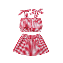 Toddler Kids Baby Girl Outfits Clothes Sleeveless Strap Ruffle Plaid T shirt Tops Mini Skirts 2PCS Set 2019 все цены
