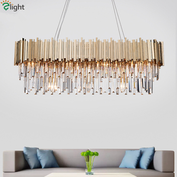 Luxury Plated Gold Metal Lustre K9 Crystal Led Pendant Lights E14 Luminarias Dining Room Straight Pendant Lamp Lighting Fixtures
