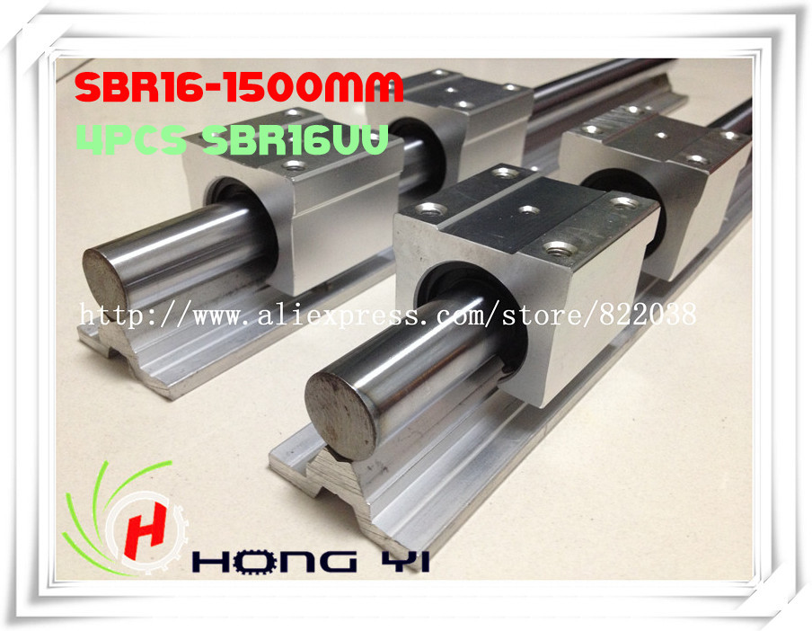 2 X SBR16 L = 1500mm linear bearing supported rails +4 pcs SBR16UU Linear Guides bearing blocks for CNC 2pcs sbr25 l1500mm linear guides 4pcs sbr25uu linear blocks for cnc