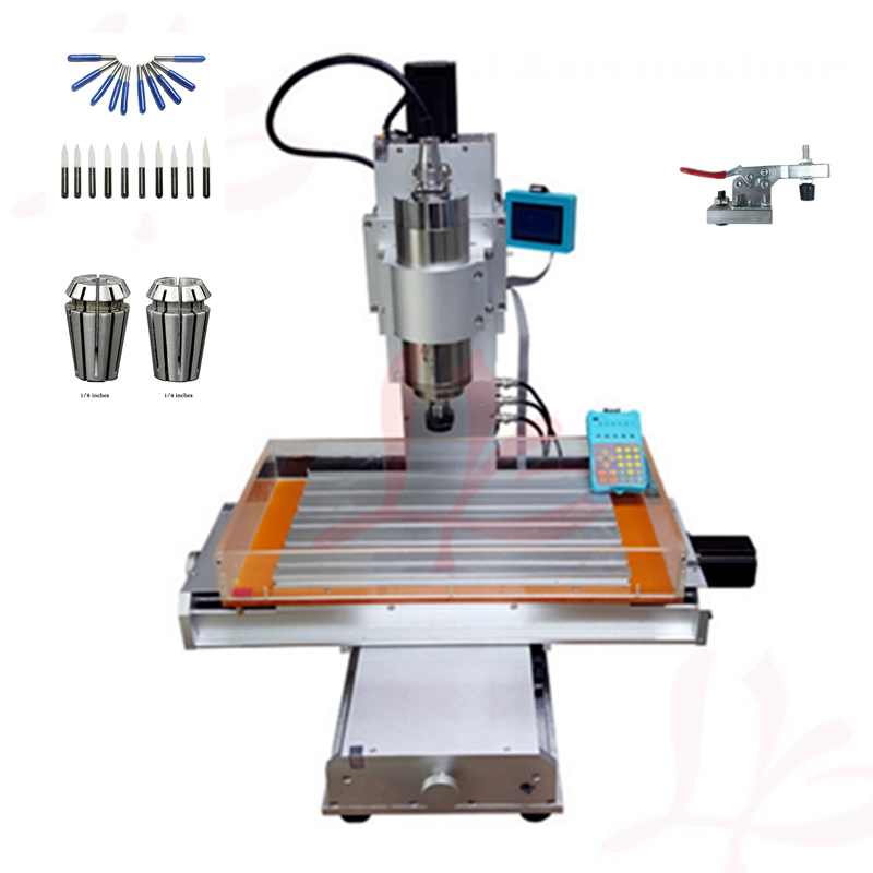 3 axis wood router 1500W spindle mini cnc 3040 metal engraving drilling cutting machine with free cutter er11 collet cnc 3040 cnc router cnc machine 3 4 5 axis mini engraving machine woodworking tools diy hy 3040 high quality metal acrylic