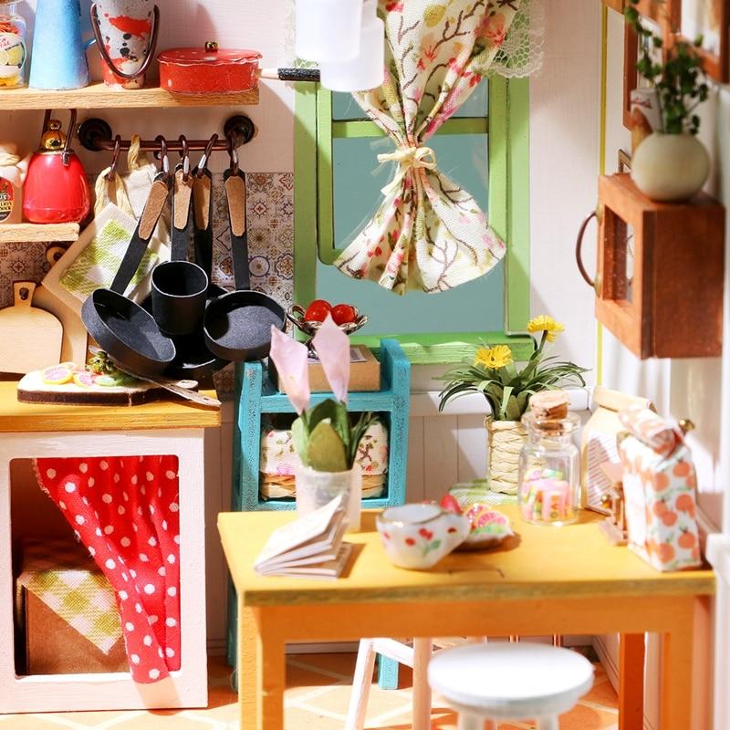 Robud DIY Miniature Jason's Kitchen Doll House Modell Byggsatser - Dockor och tillbehör - Foto 4