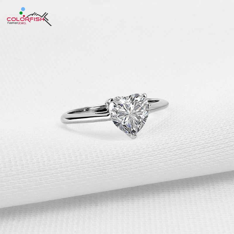 COLORFISH 1.25 ct Wedding Rings For Women Heart Brilliant Sona Cubic Zirconia 925 Sterling Silver Solitaire Engagement Ring