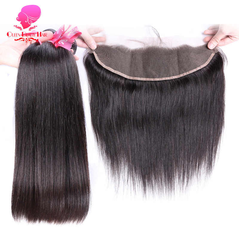 QUEEN BEAUTY Human Hair Bundles with Frontal Remy Hair Weft Brazilian Straight Hair 2/3/4 Bundles and 13x4 Lace Frontal Closure