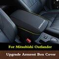 Для Mitsubishi Outlander 2013 2016 2018 Кожаный Автомобильный подлокотник Pad центральная консоль Подлокотники коробка чехол для хранения Защитная Подушка