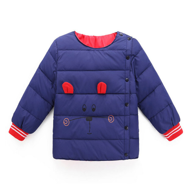 2-7 Age New Childrens Down Jacket Boys Girls Winter Cute Cartoon Long Sleeve Single-breasted All-match Warm 4 Color Kids Clothes