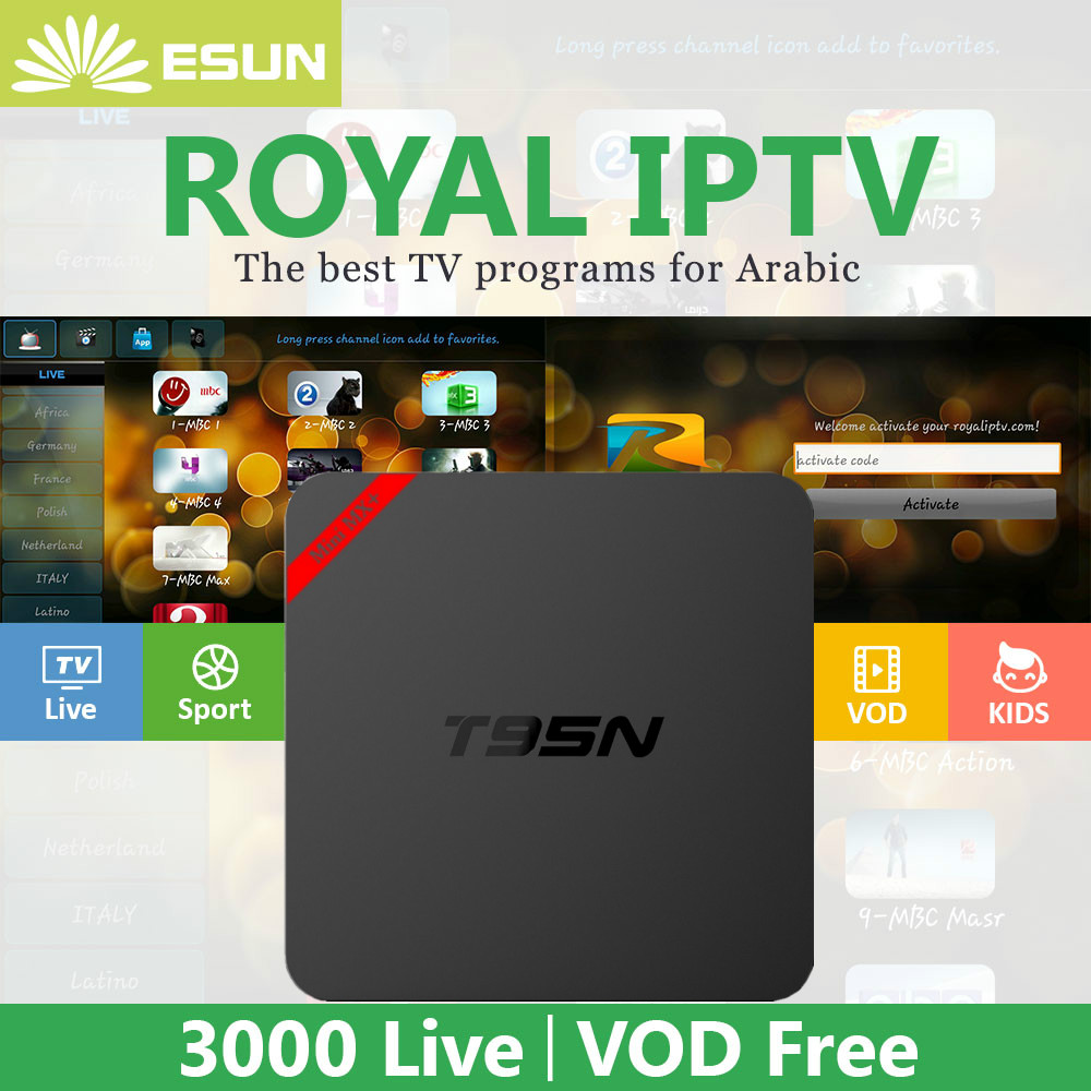 Royal IPTV Mini MX plus With 1 Year RoyalTV Configured Arabic Europe IPTV T95N Android TV Box Amlogic S905 Smart TV Box beelink mini mx ver 1 0 tv box android 5 1 2g 16g amlogic s905