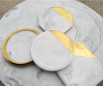 Coffee Cup Pad Set Ceramics Table Mat Coaster Home Office Desk Accessories Modern Marbling Art Golden Pattern Decor SN1852