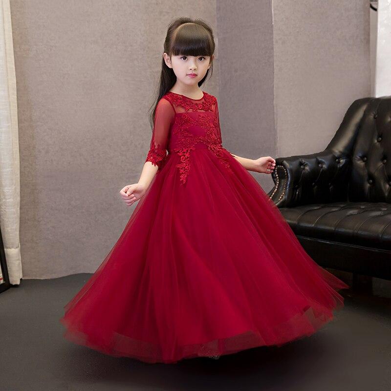 Vino Rojo Vestidos De Niña Para Las Bodas Del Verano Medias