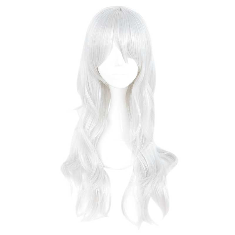 MCOSER 70cm Synthetic Long Wavy Silvery White Color Cosplay Wig 100% High Temperature Fiber Hair WIG-636Z image