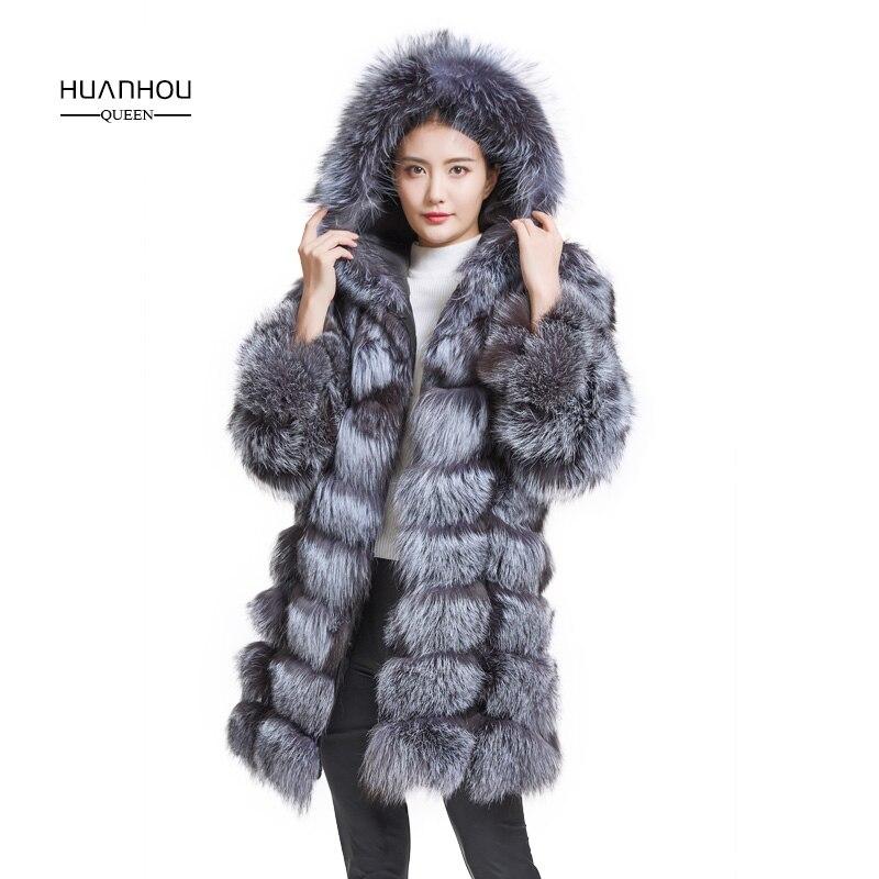 Huanhou reine réel silver fox fourrure manteau avec capuche, mode chaud fourrure de renard long manteau, femmes manteau d'hiver.