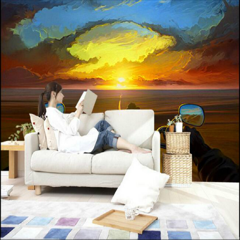 Creative Oil Painting Motorcycle Rider Sunset Large Mural Wallpaper Living Room Bedroom Wallpaper Painting TV 3D Wallpaper free shipping large mural wallpaper villa living room ceiling european oil painting wallpaper