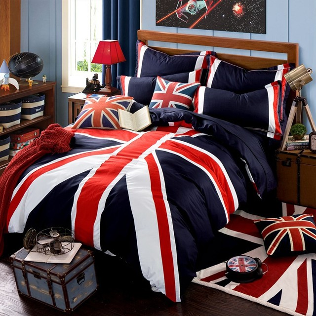 100 Cotton Fabric British And American Flag Bedding Set Union Jack Twin Queen