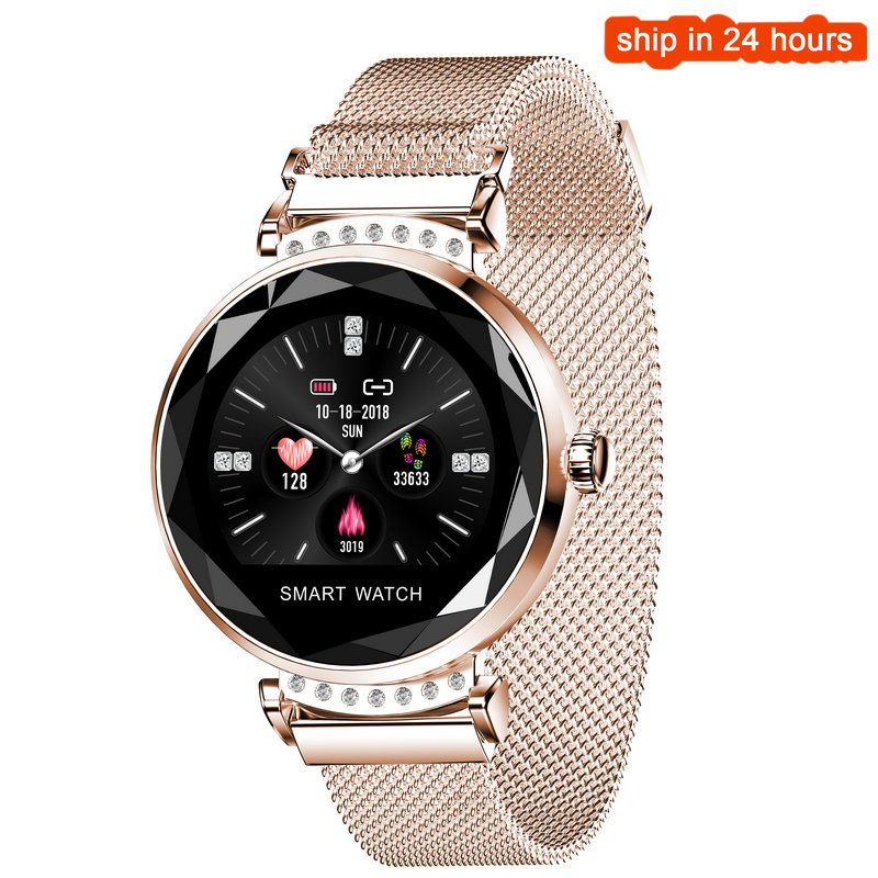 Newest Fashion H2 Smart Watch Women 3D Diamond Glass Heart Rate Blood Pressure Sleep Monitor Best Gift Smartwatch